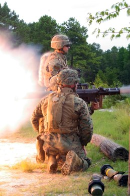 Marines from Battalion Landing Team 1st Battalion / 6th Marine Regiment (BLT 1/6) Bravo Company, attached to the 24th Marine Expeditionary Unit (MEU), take aim and practice firing the Should Fired/Launched Multipurpose Assault Weapon System (SMAW) at decommissioned tanks at a range on Fort Pickett, VA during training exercises. This range and other exercises help prepare the Marines for the upcoming deployment with the 24th MEU. (US Marine Corps photo by Corporal Andrew J. Carlson)