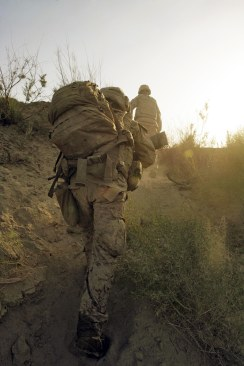 Marines from Charlie Company, Battalion Landing Team, 1st Battalion, 6th Marine Regiment, 24th Marine Expeditionary Unit, NATO-International Security Assistance Force, patrol while conducting combat operations in Helmand Province, Afghanistan. (Official Marine Corps photograph by Cpl Andrew J. Carlson)