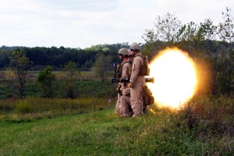 Marines with Force Reconnaissance, attached to the 24th Marine Expeditionary Unit, conduct a live fire range showcasing the use of the Claymore mine, M203 Grenade Launcher Weapon System, and the AT-4 Rocket Launcher. This range allows the Marines to become come more proficient at using these weapons should they need to do so while deployed with the 24th MEU. (US Marine Corps photo by Sgt Andrew J. Carlson)